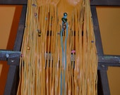 HOLD For Alison Taylor Gold Hide Fringe Pouch Purse Accented In Teal Beautiful Natural Shape Ready To Ship