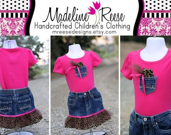 READY TO SHIP Size 24 Months Vibrant Pink and Cheetah Print Designer Ruffled Denim Skirt with Matching Shirt and Yo Yo Headband
