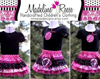 READY TO SHIP Size 12 Months Fuchsia Pink and Black Ladybug Designer Ruffle Skirt Set