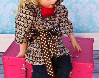 READY TO SHIP Size 3T Ruffle Jacket with Ruffle Jeans for Thanksgiving