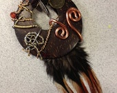 Wire wrapped coconut shell feather pendant - One of a kind
