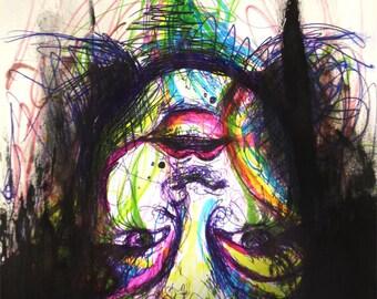 Upside down - 8 x11 original art (12x15 framed)