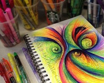 Colorful Abstract - 8 x11 original art w 11x14 mat