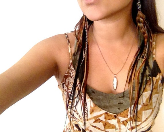 Black Leather / Wire wrapped Super Long Feather earrings