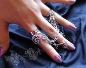 CYBERGOTH visual kei GOTHIC punk LOLITA double ring with skull & pentagram