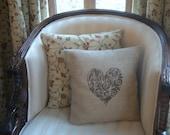 "Decorative Chestnut Heart Rustic Hessian Cushion Burlap Pillow 14"" x 14"""
