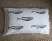 Whale Vintage Style Canvas Bed Pillow Cover