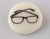 Glasses - handmade porcelaine brooch