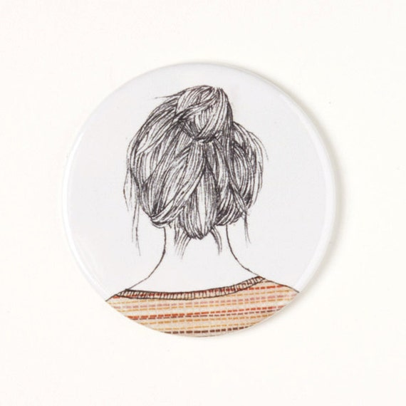 Girl with bun - Pocket mirror