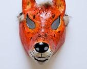 RESERVED FOR WILLOWGREENE Orange Fox papier- mache mask