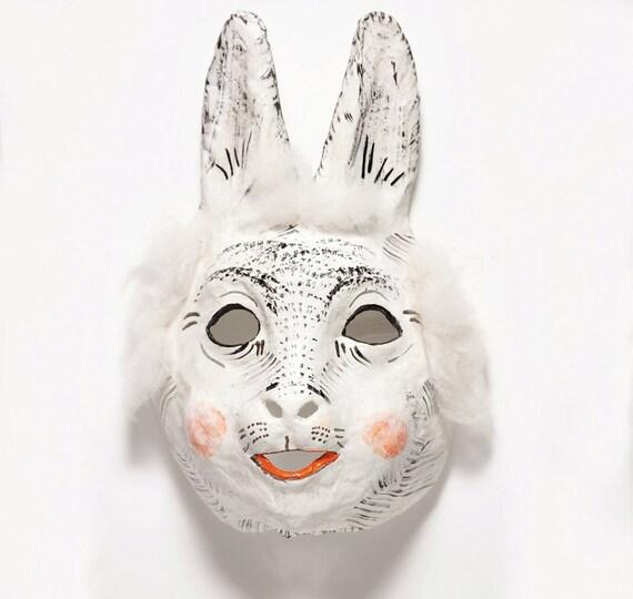 Paper mache hare mask