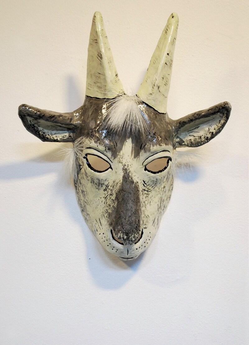 Paper mache goat mask - Masque papier mache ...