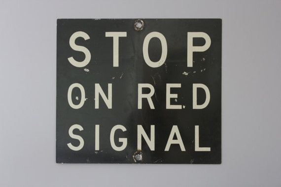 Vintage Black Metal Railroad Sign, Stop On Red Signal