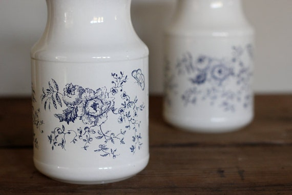Vintage Kitchen Canister, Flower and Butterfly Motif