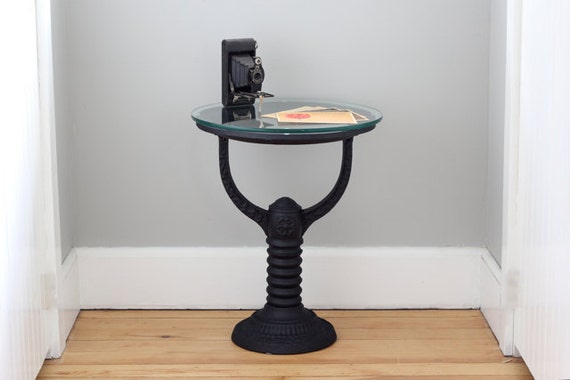 Cast iron side table repurposed victorian water heater stand for Cast iron end table