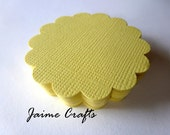 60 Yellow Cardstock Scallop Circles : 2 Inch