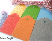 2.00 SALE - 2 Dozen Cardstock Tags with Twine 1.75 x 1.25 - (Glitter Rainbow Collection) Black Friday Cyber Monday
