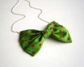 """St Patrick's Day Bow tie necklace. Fabric bow pendant with silver chain 22""""  red green Patrick day gift"""