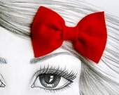 Red Bow hair clip Felt bow Ready to ship metal alligator clip Ready to ship Props Girls Easter gift