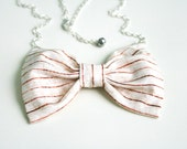 """Bow tie necklace - wooden print fabric bow pendant with silver chain 20"""" Pastel woodland"""