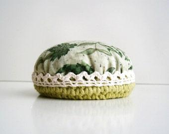 Pincushion Vintage designs  Green botanical print  Vintage lace Crochet Valentine's Day