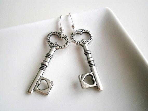 Key earrings french hook tibetan silver  heart keys Key my lock heart Mom gift