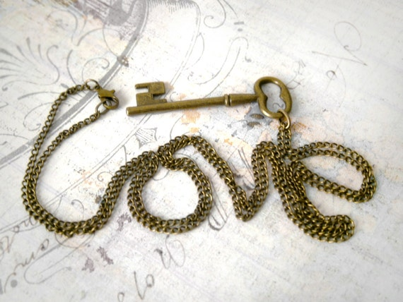 "Skeleton Key necklace Bronze  Long chain 30""  Vintage key pendant Ready to ship Mother's Day Love"