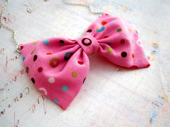 """SALE Pink bow tie necklace Rainbow dots Fabric bow pendant with silver chain 20"""" Ready to ship Silver bib necklace"""