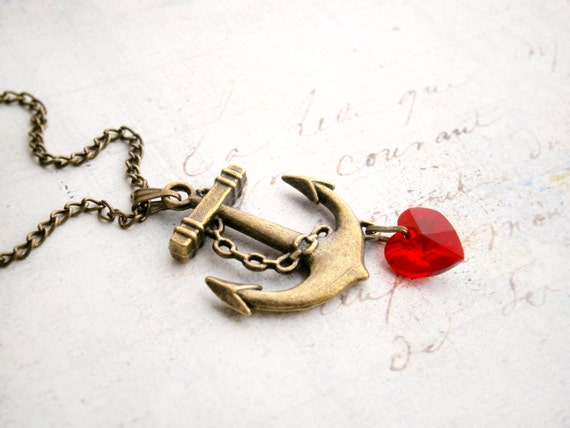 """Anchor pendant  Swarovski red heart 10mm bronze chain 18"""" ready to ship nautic saylor titanic heart Mother's day"""