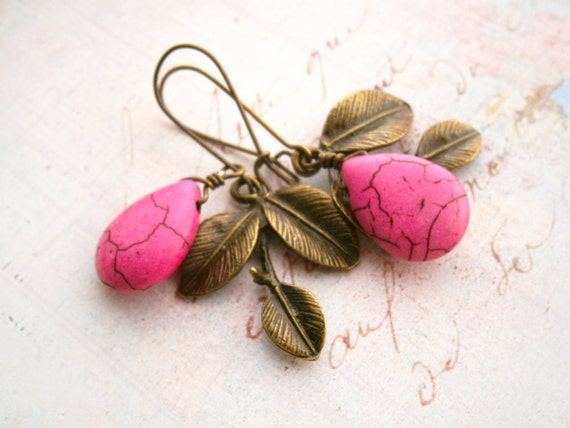 SALE Hot Pink drop earrings  Antique brass leaves Genuine pink turquoise Mom gift Pink wedding Mother's day