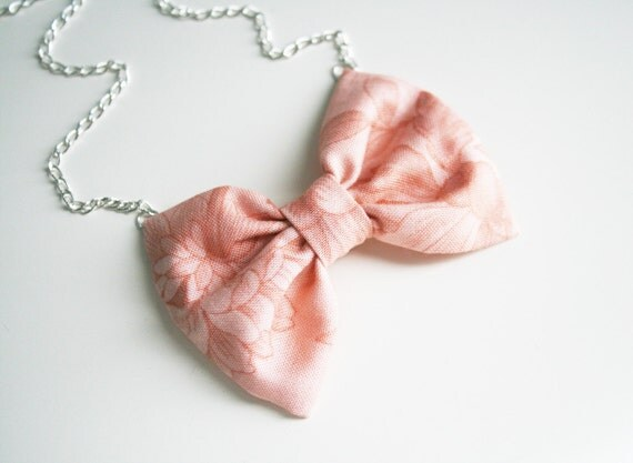 "Pink bow necklace Fabric bow tie pendant Silver chain 20""  candy girls gift Ready to ship Flower print"