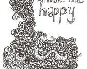 Sharpie Monster Doodle- You Make Me Happy