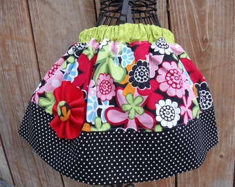 Girls Skirt Infant toddler flower Custom..Blossom Dots..sizes 0-12 months, 1/2, 3/4, 5/6, 7/8, 9/10 Bigger Sizes Available