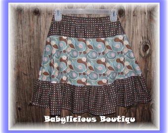 Girls Twirl Skirt Infant toddler flower Custom..Swirly Flowers..sizes 0-12 months, 1/2, 3/4, 5/6, 7/8, 9/10 Bigger Sizes Available
