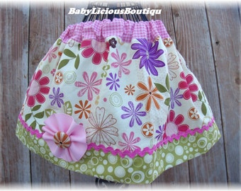 Girls Twirl Skirt Custom..Flower Baby..Available in 0-12 months, 1/2, 3/4, 5/6, 7/8, 9/10 Bigger Sizes Available