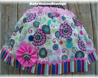 Girls Twirl Skirt Custom..Crazy Blooms..Available in 0-12 months, 1/2, 3/4, 5/6, 7/8, 9/10 Bigger Sizes Available