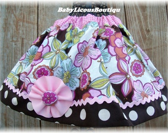 Girls infant toddler Skirt Custom..Botonicals..Available in 0-12 months, 1/2, 3/4, 5/6, 7/8, 9/10 Bigger Sizes Available
