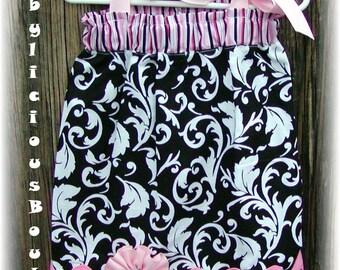 Girls Pillowcase Dress Infant toddler Custom Striped Damask...sizes 0-6, 6-12, 12-18, 18-24 months, 2T, 3T..Bigger sizes AVAILABLE