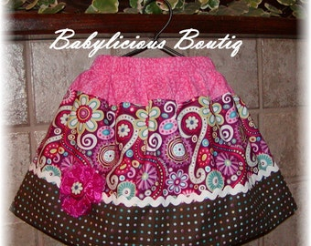 Girls Skirt Infant toddler flower Custom..Scrolls N Dots..sizes 0-12 months, 1/2, 3/4, 5/6, 7/8, 9/10 Bigger Sizes Available