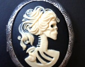Ivory Skeleton Lady Gothic Locket Necklace Gothic