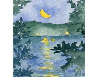 Happy Birthday Moon Over Indian Lake, Worcester, Ma Card