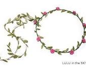Pink woodland fairy festival floral headband head dress