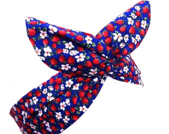 Royal Blue, Red Strawberry & White Daisy Wire Headband