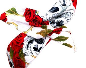 White Skull & Rose Print wire Rockabilly Pin Up Headband Hair Wrap
