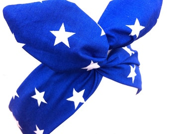 Rockabilly Pin up Royal Blue STAR Print Wire Headband Hair Wrap