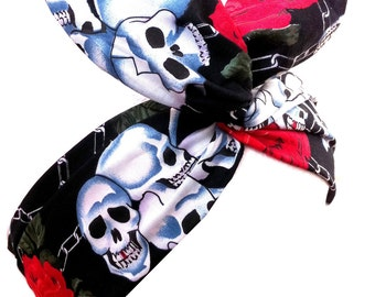 Black with Skull & Rose Print PIN UP wire ROCKABILLY Headband Hair Wrap