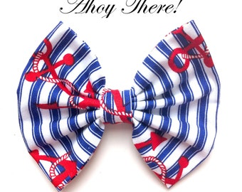 Blue & White stripe Nautical Hair Bow on clip with Red Sailor Anchor Print Rockabilly Pin Up