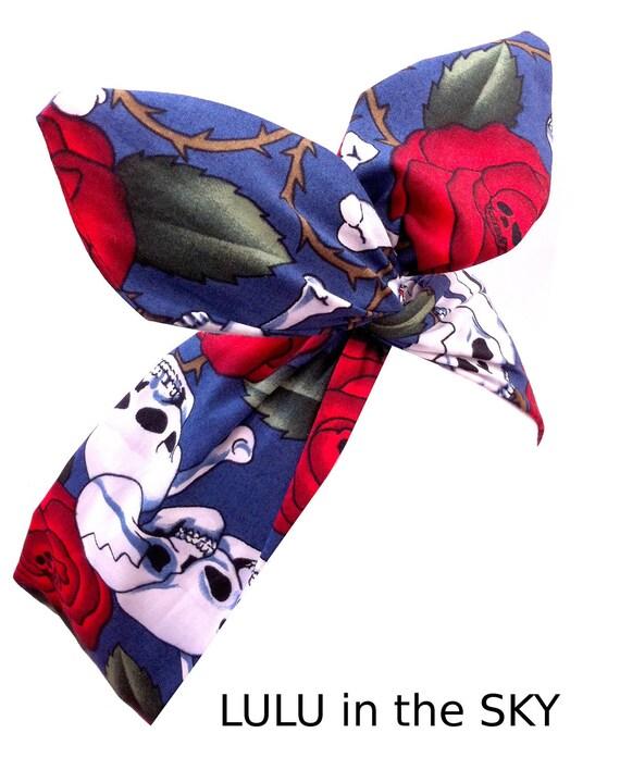 Blue Skull & Rose Print wire ROCKABILLY Pin up Headband Headscarf