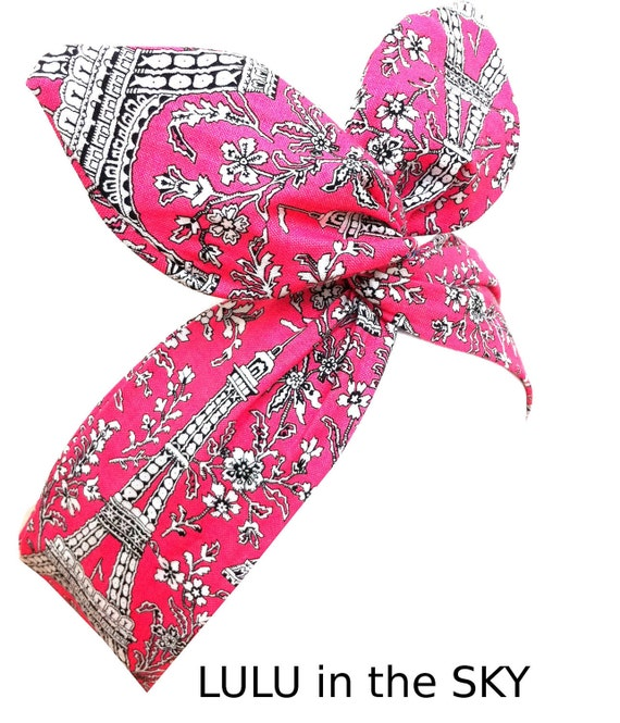 Rockabilly Wire Pin up Headband Paris - Eiffel Tower Print French Pink Hair Wrap