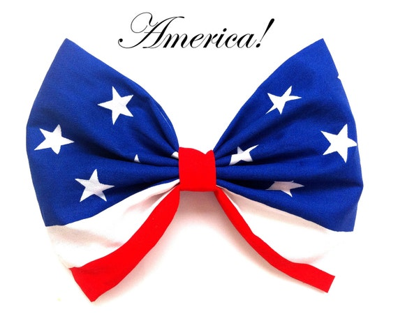 Red, White and Blue Stars and Stripes Large Patriotic ROCKABILLY Pin Up girl Hair Bow 4th July